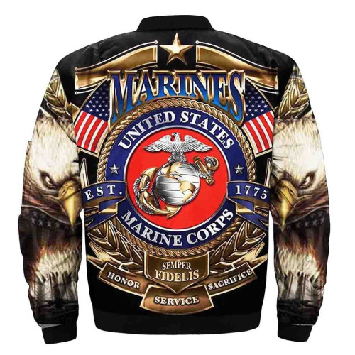 **(OFFICIAL-U.S.MARINE-VETERANS-FLIGHT-JACKETS & SEMPER-FIDELIS/HONOR,SERVICE & SACRIFICE & OFFICIAL-CLASSIC-MARINES-GLOBE/NICE-DETAILED-3D-CUSTOM-GRAPHIC-PRINTED-DOUBLE-SIDED-DESIGN/WARM-PREMIUM-BOMBER-FLIGHT-JACKETS)**