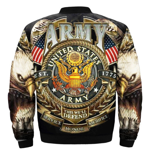 **(OFFICIAL-U.S.ARMY-VETERANS-FLIGHT-JACKETS & THIS-WE'LL-DEFEND/SERVICE,HONOR & SACRIFICE-SINCE-1775 & CLASSIC-OFFICIAL-ARMY-SYMBOL/NICE-DETAILED-3D-CUSTOM-GRAPHIC-PRINTED-DOUBLE-SIDED-DESIGN/WARM-PREMIUM-BOMBER-FLIGHT-JACKETS)**