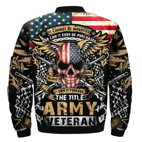 **(OFFICIAL-ARMY-VETERANS-FLIGHT-JACKETS & I-OWN-IT-FOREVER/THE-TITLE-OF-ARMY-VETERAN & PATRIOTIC-WINGED-SKULL/NICE-DETAILED-3D-CUSTOM-GRAPHIC-PRINTED-DOUBLE-SIDED-DESIGN/WARM-PREMIUM-BOMBER-FLIGHT-JACKETS)**