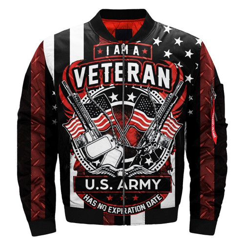 **(OFFICIAL-U.S.ARMY-VETERANS-FLIGHT-JACKETS & I'M-A-VETERAN-U.S.ARMY/HAS-NO-EXPIRATION-DATE/WITH-DUAL-PATRIOTIC-FLAGS & U.S.MILITARY-DOG-TAGS/NICE-DETAILED-3D-CUSTOM-GRAPHIC-PRINTED-DOUBLE-SIDED-DESIGN/WARM-PREMIUM-BOMBER-FLIGHT-JACKETS)**