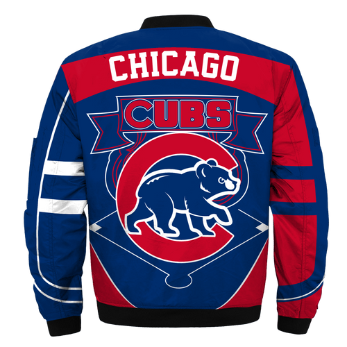 **(OFFICIAL-M.L.B.CHICAGO-CUBS-TEAM-FLIGHT-JACKETS/NICE-CUSTOM-DETAILED-3D-GRAPHIC-PRINTED/PREMIUM-ALL-OVER-DOUBLE-SIDED-PRINTING/OFFICIAL-CUBS-TEAM-COLORS & CLASSIC-CUBS-3D-LOGOS,PREMIUM-ZIPPERED-FRONT-BOMBER/FLIGHT-M.L.B.JACKETS)**