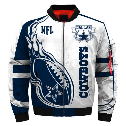 **(OFFICIALLY-LICENSED-N.F.L.DALLAS-COWBOYS & OFFICIAL-COWBOYS-TEAM-COLORS & OFFICIAL-CLASSIC-COWBOYS-LOGOS-BOMBER/FLIGHT-JACKET & NICE-NEW-CUSTOM-3D-GRAPHIC-PRINTED-DOUBLE-SIDED-ALL-OVER-DESIGN/WARM-PREMIUM-N.F.L.COWBOYS-FLIGHT-JACKETS)**