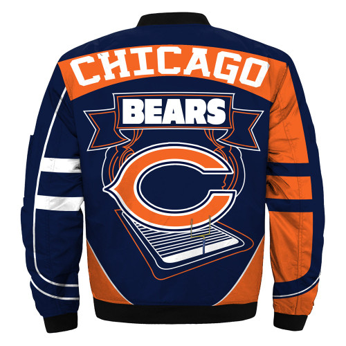 **(OFFICIALLY-LICENSED-N.F.L.CHICAGO-BEARS & OFFICIAL-BEARS-TEAM-COLORS & OFFICIAL-CLASSIC-BEARS-LOGOS-BOMBER/FLIGHT-JACKET & NICE-NEW-CUSTOM-3D-GRAPHIC-PRINTED-DOUBLE-SIDED-ALL-OVER-DESIGN/WARM-PREMIUM-N.F.L.BEARS-FLIGHT-JACKETS)**