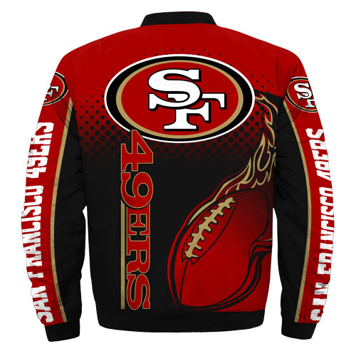 **(OFFICIALLY-LICENSED-N.F.L.SAN-FRANCISCO-49ERS & OFFICIAL-49ERS-TEAM-COLORS & OFFICIAL-CLASSIC-49ERS-LOGOS-BOMBER/FLIGHT-JACKET & NICE-NEW-CUSTOM-3D-GRAPHIC-PRINTED-DOUBLE-SIDED-ALL-OVER-DESIGN/WARM-PREMIUM-N.F.L.49ERS-FLIGHT-JACKETS)**