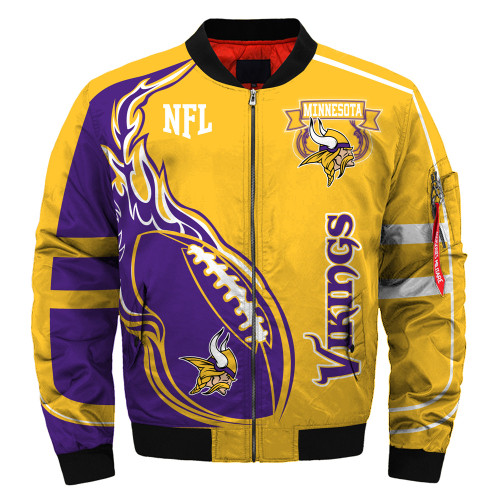 **(OFFICIALLY-LICENSED-N.F.L.MINNESOTA-VIKINGS & OFFICIAL-VIKINGS-TEAM-COLORS & OFFICIAL-CLASSIC-VIKINGS-LOGOS-BOMBER/FLIGHT-JACKET & NICE-NEW-CUSTOM-3D-GRAPHIC-PRINTED-DOUBLE-SIDED-ALL-OVER-DESIGN/WARM-PREMIUM-N.F.L.VIKINGS-FLIGHT-JACKETS)**