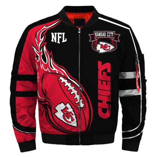 **(OFFICIALLY-LICENSED-N.F.L.KANSAS-CITY-CHIEFS & OFFICIAL-CHIEFS-TEAM-COLORS & OFFICIAL-CLASSIC-CHIEFS-LOGOS-BOMBER/FLIGHT-JACKET & NICE-NEW-CUSTOM-3D-GRAPHIC-PRINTED-DOUBLE-SIDED-ALL-OVER-DESIGN/WARM-PREMIUM-N.F.L.CHIEFS-FLIGHT-JACKETS)**
