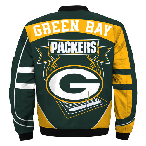 **(OFFICIALLY-LICENSED-N.F.L.GREEN-BAY-PACKERS & OFFICIAL-PACKERS-TEAM-COLORS & OFFICIAL-CLASSIC-PACKERS-LOGOS-BOMBER/FLIGHT-JACKET & NICE-NEW-CUSTOM-3D-GRAPHIC-PRINTED-DOUBLE-SIDED-ALL-OVER-DESIGN/WARM-PREMIUM-N.F.L.PACKERS-FLIGHT-JACKETS)**