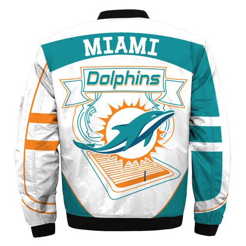 **(OFFICIALLY-LICENSED-N.F.L.MIAMI-DOLPHINS & OFFICIAL-DOLPHINS-TEAM-COLORS & OFFICIAL-CLASSIC-DOLPHINS-LOGOS-BOMBER/FLIGHT-JACKET & NICE-NEW-CUSTOM-3D-GRAPHIC-PRINTED-DOUBLE-SIDED-ALL-OVER-DESIGN/WARM-PREMIUM-N.F.L.DOLPHINS-FLIGHT-JACKETS)**