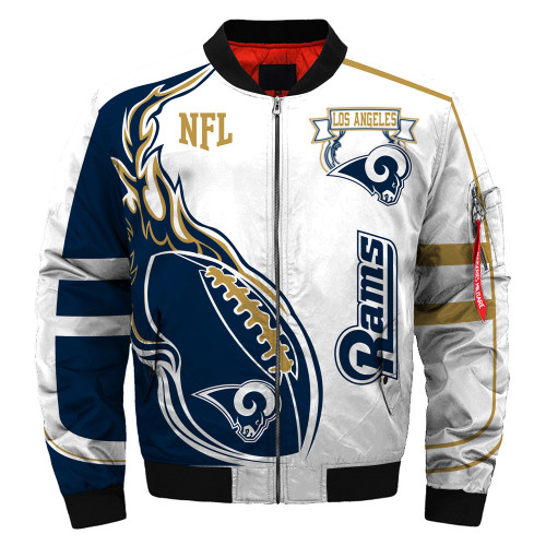 **(OFFICIALLY-LICENSED-N.F.L.LOS-ANGELES-RAMS & OFFICIAL-RAMS-TEAM-COLORS & OFFICIAL-CLASSIC-RAMS-LOGOS-BOMBER/FLIGHT-JACKET & NICE-NEW-CUSTOM-3D-GRAPHIC-PRINTED-DOUBLE-SIDED-ALL-OVER-DESIGN/WARM-PREMIUM-N.F.L.RAMS-FLIGHT-JACKETS)**