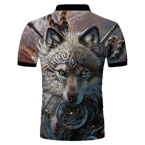 **(CUSTOM-3D-WOLF-WARRIOR & DREAM-CATCHER-MENS-POLO-SPORT-SHIRTS/NICE-3D-CUSTOM-DETAILED-GRAPHIC-PRINTED/DOUBLE-SIDED-PRINTED-DESIGN-PREMIUM-PULLOVER-POLO-SHIRTS)**