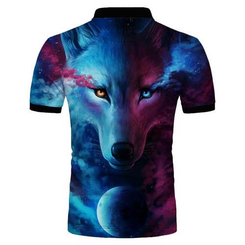 **(CUSTOM-3D-BEAUTIFUL-MYSTICAL-WILD-EYED-WOLF & MOON-IN THE NIGHT/MENS-POLO-SPORT-SHIRTS,NICE-3D-CUSTOM-DETAILED-GRAPHIC-PRINTED/DOUBLE-SIDED-PRINTED-DESIGN-PREMIUM-PULLOVER-TRENDY-POLO-SHIRTS)**