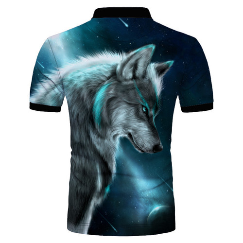 **(CUSTOM-3D-BEAUTIFUL-WILD-EYED-GREY-WOLF & MOON-IN THE NIGHT/MENS-POLO-SPORT-SHIRTS,NICE-3D-CUSTOM-DETAILED-GRAPHIC-PRINTED/DOUBLE-SIDED-PRINTED-DESIGN-PREMIUM-PULLOVER-TRENDY-POLO-SHIRTS)**