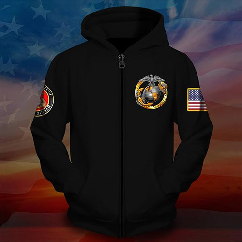 **(OFFICIAL-U.S.MARINE-VETERANS-ZIPPERED-HOODIES/PROUD-TO-HAVE-SERVED & OFFICIAL-CLASSIC-MARINES-GLOBE & ANCHOR-EMBLEM/NICE-3D-CUSTOM-DETAILED-GRAPHIC-PRINTED/DOUBLE-SIDED-ALL-OVER-PRINTED-SLEEVE-DESIGNED/WARM-PREMIUM-ZIPPERED-U.S.MARINES-HOODIES)**