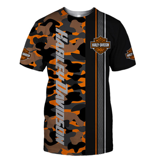 **(OFFICIALLY-LICENSED-HARLEY-DAVIDSON-BIKER-ORANGE-CAMO.TEES & OFFICIAL-HARLEY-BIKER-COLORS & OFFICIAL-CLASSIC-HARLEY-LOGOS/NICE-NEW-CUSTOM-3D-GRAPHIC-PRINTED-DOUBLE-SIDED-ALL-OVER-DESIGN/CUSTOM-DESIGNED-CAMO.HARLEY-DAVIDSON-PREMIUM-BIKER-TEES)**