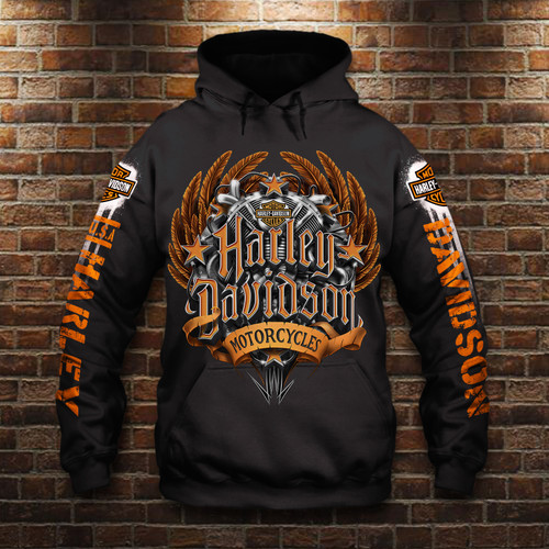 **(OFFICIAL-HARLEY-DAVIDSON-MOTORCYCLE-PULLOVER-HOODIES/NICE-3D-CUSTOM-GRAPHIC-PRINTED & DOUBLE-SIDED-ALL-OVER-DESIGN/CLASSIC-OFFICIAL-CUSTOM-HARLEY-LOGOS & OFFICIAL-HARLEY-BLACK & ORANGE-COLORS/WARM-PREMIUM-RIDING-HARLEY-BIKERS-PULLOVER-HOODIES)**