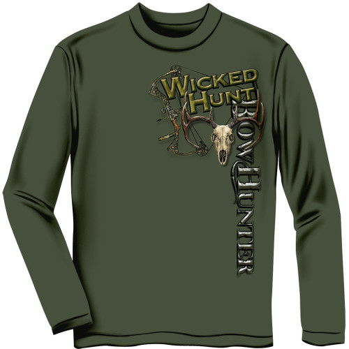 """**(NEW """"THE-WICKED-HUNT"""" & BOW-HUNTER-AIMING-DOWN-ON-THREE-BIG-TROPHY-BUCKS,NICE-GRAPHIC-PRINTED-PREMIUM,DOUBLE-SIDED-BOW-HUNTERS-LONG-SLEEVE-TEES)**"""