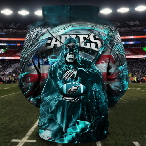 **(OFFICIAL-N.F.L.PHILADELPHIA-EAGLES-ZIPPERED-HOODIES/3D-CUSTOM-EAGLES-LOGOS & OFFICIAL-EAGLES-TEAM-COLORS/PATRIOTIC-GRIMM-REAPER & SUDDEN-DEATH/CUSTOM-3D-GRAPHIC-PRINTED-DOUBLE-SIDED-DESIGN/TRENDY-WARM-PREMIUM-N.F.L.EAGLES-ZIPPERED-HOODIES)**