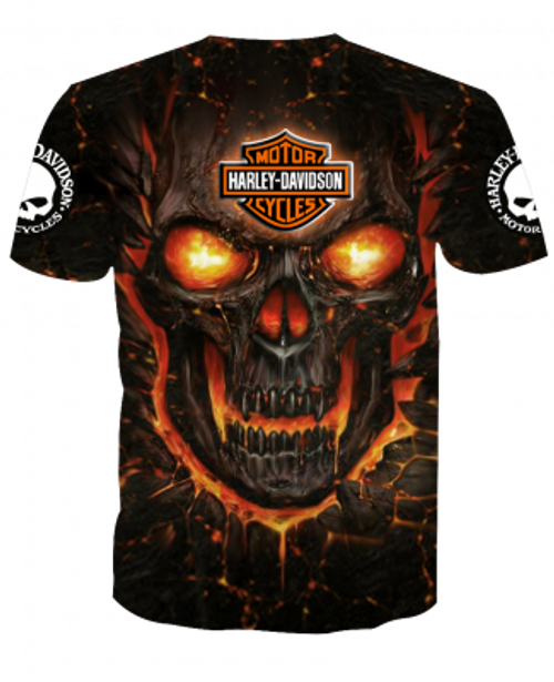 **(OFFICIAL-HARLEY-DAVIDSON-MOTORCYCLE-TEES/3D-GRAPHIC-PRINTED-ORANGE-GLOWING-SKULL-DESIGN/FEATURING-OFFICIAL-CUSTOM-HARLEY-LOGOS & OFFICIAL-CLASSIC-BLACK & ORANGE-HARLEY-COLORS/3D-DOUBLE-SIDED-ALL-OVER-GRAPHIC-DESIGN/PREMIUM-HARLEY-RIDING-TEES)**