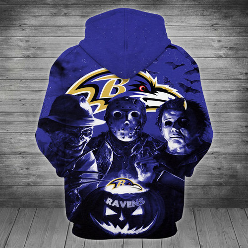 **(OFFICIALLY-LICENSED-N.F.L.BALTIMORE-RAVENS/CLASSIC-HALLOWEEN-HORROR-MOVIE-CHARACTERS-ZIPPERED-HOODIES/NICE-DETAILED-PREMIUM-CUSTOM-3D-GRAPHIC-PRINTED & ALL-OVER-PRINTED-DESIGN,PREMIUM-WARM-N.F.L.BALTIMORE-RAVENS-TEAM-COLOR-ZIPPERED-HOODIES)**