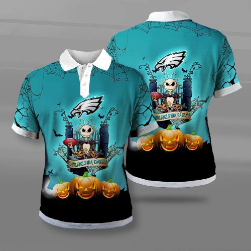 **(OFFICIAL-NEW-N.F.L.PHILADELPHIA-EAGLES-TEAM-FASHION-POLO-SHIRTS/CUSTOM-3D-EAGLES-OFFICIAL-LOGOS & OFFICIAL-CLASSIC-EAGLES-TEAM-COLORS/DETAILED-3D-GRAPHIC-PRINTED-DOUBLE-SIDED-DESIGN/PREMIUM-N.F.L.EAGLES-HALLOWEEN-NIGHTMARE-THEMED-POLO-SHIRTS)**