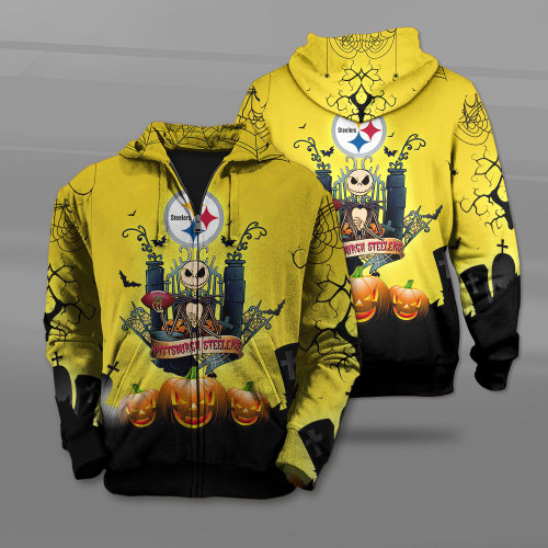 **(OFFICIAL-N.F.L.PITTSBURGH-STEELERS-TEAM-ZIPPERED-HOODIES/CUSTOM-3D-STEELERS-OFFICIAL-LOGOS & OFFICIAL-CLASSIC-STEELERS-TEAM-COLORS/DETAILED-3D-GRAPHIC-PRINTED-DOUBLE-SIDED-DESIGN/PREMIUM-N.F.L.STEELERS-HALLOWEEN-NIGHTMARE-THEMED-ZIP-HOODIES)**
