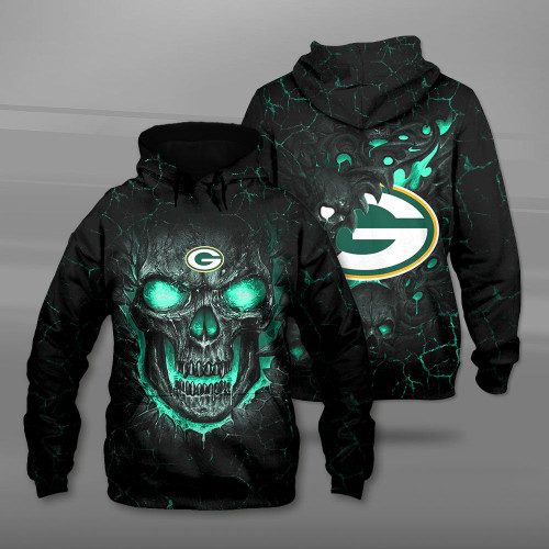 **(OFFICIAL-N.F.L.GREEN-BAY-PACKERS-TEAM-PULLOVER-HOODIES/CUSTOM-3D-PACKERS-OFFICIAL-LOGOS & OFFICIAL-CLASSIC-PACKERS-TEAM-COLORS/DETAILED-3D-GRAPHIC-PRINTED-DOUBLE-SIDED-DESIGN/PREMIUM-N.F.L.PACKERS & BIG-FIREY-SKULL-THEMED-PULLOVER-HOODIES)**