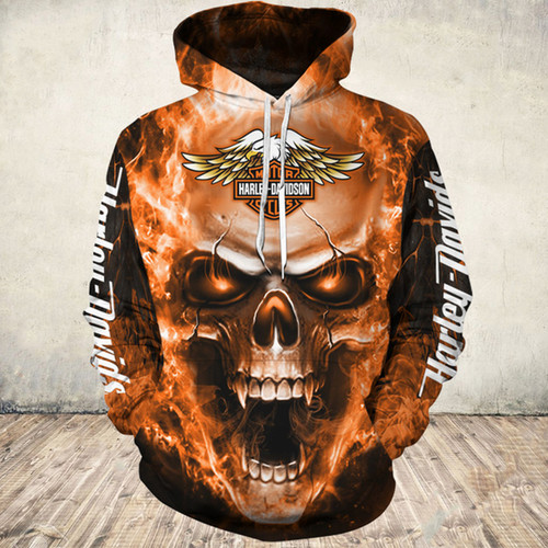 **(OFFICIAL-HARLEY-DAVIDSON-MOTORCYCLE-PULLOVER-HOODIES/3D-GRAPHIC-PRINTED-ORANGE-GLOWING-SKULL-DESIGN/FEATURING-OFFICIAL-CUSTOM-HARLEY-LOGOS & OFFICIAL-CLASSIC-HARLEY-COLORS/DOUBLE-SIDED-ALL-OVER-GRAPHIC-DESIGN/WARM-PREMIUM-HARLEY-RIDING-HOODIES)**