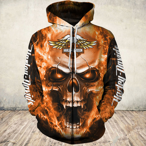 **(OFFICIAL-HARLEY-DAVIDSON-MOTORCYCLE-ZIPPERED-HOODIES/3D-GRAPHIC-PRINTED-ORANGE-GLOWING-SKULL-DESIGN/FEATURING-OFFICIAL-CUSTOM-HARLEY-LOGOS & OFFICIAL-CLASSIC-HARLEY-COLORS/DOUBLE-SIDED-ALL-OVER-GRAPHIC-DESIGN/WARM-PREMIUM-HARLEY-RIDING-HOODIES)**