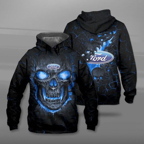 **(BIG-FIREY-BLUE-SKULL-THEMED-OFFICIAL-NEW-FORD-PULLOVER-HOODIES/NICE-CUSTOM-3D-OFFICIAL-FORD-LOGOS & OFFICIAL-CLASSIC-FORD-COLORS/DETAILED-3D-GRAPHIC-PRINTED-DOUBLE-SIDED-DESIGN/PREMIUM-WARM-FORD-PULLOVER-HOODIES)**