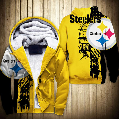 **(NEW-OFFICIAL-N.F.L. PITTSBURGH-STEELERS-FLEECE-LINED-TEAM-HOODED-JACKETS/NICE-3D-CUSTOM-DETAILED-GRAPHIC-PRINTED-DOUBLE-SIDED-LOGOS & OFFICIAL-CLASSIC-STEELERS-TEAM-COLORS/NICE-WARM-PREMIUM-FLEECE-ZIPPERED-HOODED-TEAM-JACKETS)**