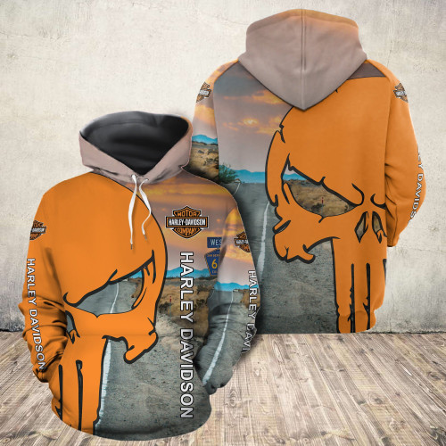**(OFFICIAL-HARLEY-DAVIDSON-MOTORCYCLE-PULLOVER-HOODIES/NICE-DETAILED-3D-GRAPHIC-PRINTED-ORANGE-PUNISHER-SKULL-DESIGN/FEATURING-OFFICIAL-CUSTOM-HARLEY-LOGOS & OFFICIAL-CLASSIC-HARLEY-COLORS/3D-DOUBLE-SIDED-ALL-OVER-GRAPHIC-DESIGN/WARM-PREMIUM-HARLEY-RIDING-HOODIES)**