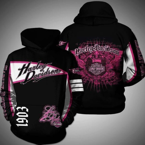 **(OFFICIAL-HARLEY-DAVIDSON-MOTORCYCLE-LADIES-PULLOVER-HOODIES/LIVE-TO-RIDE-IN-OFFICIAL-CLASSIC-HARLEY-BLACK & PINK-COLORS & OFFICIAL-HARLEY-PINK-LOGOS/NICE-DETAILED-CUSTOM-3D-GRAPHIC-PRINTED-DOUBLE-SIDED-DESIGNED/WARM-PREMIUM-HARLEY-WOMENS-BIKER-RIDING-PULLOVER-HOODIES)**