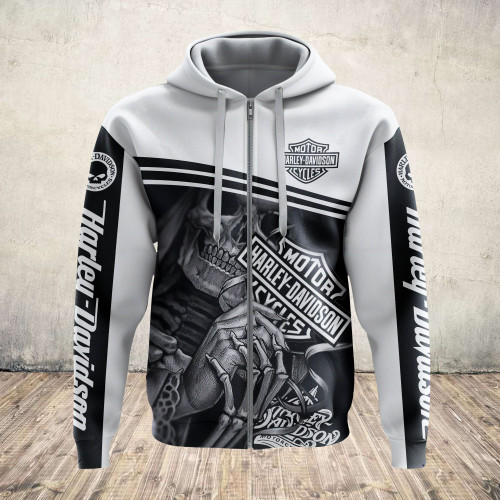 **(OFFICIAL-HARLEY-DAVIDSON-MOTORCYCLE-PULLOVER-HOODIES/NICE-CUSTOM-DETAILED-3D-GRAPHIC-PRINTED-CLASSIC-BLACK & WHITE-GRIM-REAPER-SKULL-THEMED-DESIGN/FEATURING-OFFICIAL-CUSTOM-HARLEY-LOGOS & OFFICIAL-CLASSIC-HARLEY-COLORS/WARM-PREMIUM-HARLEY-RIDING-HOODIES)**