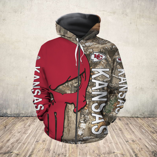 **(OFFICIAL-N.F.L.KANSAS-CITY-CHIEFS-ZIPPERED-HOODIES/DETAILED-3D-CUSTOM-GRAPHIC-PRINTED-REAL-TREE-CAMO. PUNISHER-SKULL-DESIGN/OFFICIAL-CUSTOM-CHIEFS-LOGOS & OFFICIAL-CLASSIC-CHIEFS-COLORS/WARM-PREMIUM-CHIEFS-GAME-DAY-TEAM-ZIPPERED-HOODIES)**