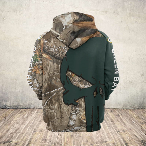 **(OFFICIAL-N.F.L.GREEN-BAY-PACKERS-ZIPPERED-HOODIES/DETAILED-3D-CUSTOM-GRAPHIC-PRINTED-REAL-TREE-CAMO. PUNISHER-SKULL-DESIGN/OFFICIAL-CUSTOM-PACKERS-LOGOS & OFFICIAL-CLASSIC-PACKERS-COLORS/WARM-PREMIUM-PACKERS-GAME-DAY-TEAM-ZIPPERED-HOODIES)**