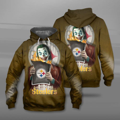 **(OFFICIAL-N.F.L.PITTSBURGH-STEELERS-TEAM-PULLOVER-HOODIES & THE-JOKER-MOVIE-CHARACTER/CUSTOM-3D-GRAPHIC-PRINTED-DOUBLE-SIDED-DESIGN/OFFICIAL-CLASSIC-STEELERS-LOGOS/OFFICIAL-STEELERS-TEAM-COLORS/WARM-PREMIUM-OFFICIAL-STEELERS-TEAM-PULLOVER-HOODIE)**