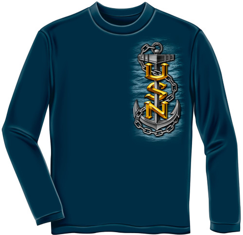 **(OFFICIALLY-LICENSED-U.S.NAVY & THE-SEA-IS-OURS,WITH-NAVY-SYMBOL & ANCHORS,NICE-GRAPHIC-PRINTED-PREMIUM-DOUBLE-SIDED/LONG-SLEEVE-NAVY-TEES:)**