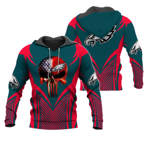 *(OFFICIAL-N.F.L.PHILADELPHIA-EAGLES-PULLOVER-TEAM-HOODIES & CLASSIC-PATRIOTIC-PUNISHER-SKULL/OFFICIAL-EAGLES-LOGOS & OFFICIAL-EAGLES-CLASSIC-TEAM-COLORS/DETAILED-3D-GRAPHIC-PRINTED-DOUBLE-SIDED-DESIGN/WARM-PREMIUM-N.FL.EAGLES-TEAM-PULLOVER-HOODIES)*