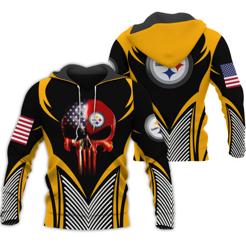 **(OFFICIAL-N.F.L.PITTSBURGH-STEELERS-PULLOVER-TEAM-HOODIES & CLASSIC-PATRIOTIC-PUNISHER-SKULL/OFFICIAL-STEELERS-LOGOS & OFFICIAL-STEELERS-CLASSIC-TEAM-COLORS/DETAILED-3D-GRAPHIC-PRINTED-DOUBLE-SIDED-DESIGN/WARM-PREMIUM-STEELERS-PULLOVER-HOODIES)**