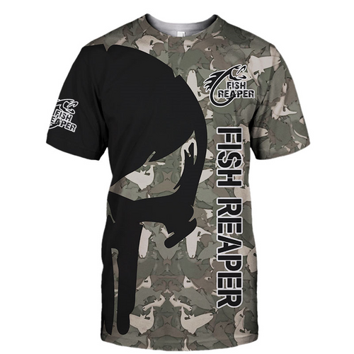 **(OFFICIAL-PUNISHER-SKULL-CAMO.STYLISH-TEES/THE-FISH-REAPER & FISH-WILL-FEAR-YOU/NICE-CUSTOM-3D-DETAILED-GRAPHIC-PRINTED-LOGOS & ALL-OVER-DOUBLE-SIDED-GRAPHIC-DESIGN/TRENDY-PREMIUM-SPORT-FISHING-SUMMER-CAMO.TEES)**