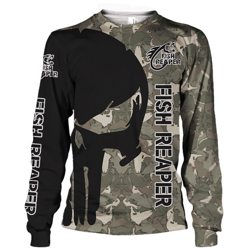 **(OFFICIAL-PUNISHER-SKULL-CAMO.STYLISH-LONG-SLEEVE-TEES/THE-FISH-REAPER & FISH-WILL-FEAR-YOU/NICE-CUSTOM-3D-DETAILED-GRAPHIC-PRINTED-LOGOS & ALL-OVER-DOUBLE-SIDED-GRAPHIC-DESIGN/TRENDY-WARM-PREMIUM-SPORT-FISHING-CAMO.COOL-WEATHER-TEES)**
