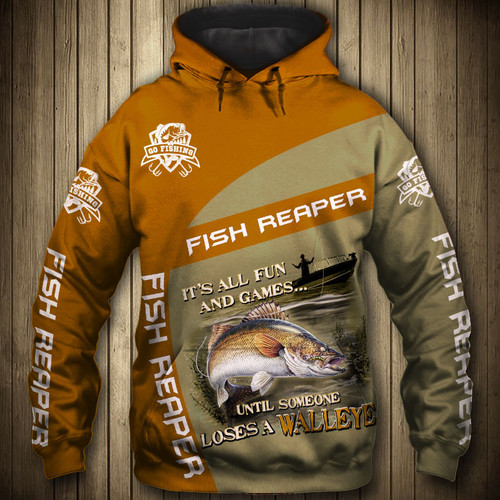 **(OFFICIAL-SPORT-FISHING-CAMO.PULLOVER-HOODIES/THE-FISH-REAPER & IT'S-ALL-FUN-AND-GAMES-UNTIL-SOMEONE-LOSES-A-WALLEYE/NICE-CUSTOM-3D-DETAILED-GRAPHIC-PRINTED-LOGOS & ALL-OVER-DOUBLE-SIDED-GRAPHIC-DESIGN/WARM-PREMIUM-SPORT-FISHING-PULLOVER-HOODIES)**