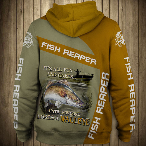 **(OFFICIAL-SPORT-FISHING-CAMO.ZIPPERED-HOODIES/THE-FISH-REAPER & IT'S-ALL-FUN-AND-GAMES-UNTIL-SOMEONE-LOSES-A-WALLEYE/NICE-CUSTOM-3D-DETAILED-GRAPHIC-PRINTED-LOGOS & ALL-OVER-DOUBLE-SIDED-GRAPHIC-DESIGN/WARM-PREMIUM-SPORT-FISHING-ZIPPERED-HOODIES)**