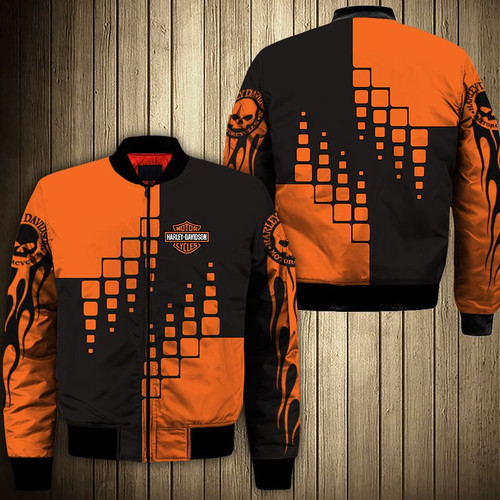 **(OFFICIAL-HARLEY-DAVIDSON-MOTORCYCLE-BIKERS-FLIGHT-JACKETS/CUSTOM-DETAILED-3D-GRAPHIC-PRINTED-DOUBLE-SIDED-DESIGN/CLASSIC-OFFICIAL-CUSTOM-HARLEY-LOGOS & CLASSIC-OFFICIAL-HARLEY-BLACK & ORANGE-COLORS/WARM-PREMIUM-HARLEY-BIKERS-RIDING-FLIGHT-JACKETS)**