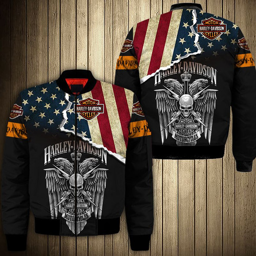**(OFFICIAL-HARLEY-DAVIDSON-MOTORCYCLE-BIKERS-FLIGHT-JACKETS/PATRIOTIC-FLAG & WINGED-BIKERS-SKULL/CUSTOM-DETAILED-3D-GRAPHIC-PRINTED-DOUBLE-SIDED-DESIGN/CLASSIC-OFFICIAL-CUSTOM-HARLEY-LOGOS & CLASSIC-OFFICIAL-HARLEY-BLACK & ORANGE-COLORS/WARM-PREMIUM-HARLEY-BIKERS-RIDING-FLIGHT-JACKETS)**