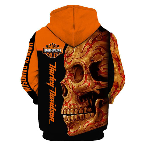 **(OFFICIAL-HARLEY-DAVIDSON-MOTORCYCLE-PULLOVER-HOODIES/NICE-DETAILED-3D-GRAPHIC-PRINTED-NEON-ORANGE-TRIBAL-SKULL-DESIGN/FEATURING-OFFICIAL-CUSTOM-HARLEY-3D-LOGOS & OFFICIAL-CLASSIC-HARLEY-COLORS/WARM-PREMIUM-HARLEY-RIDING-PULLOVER-HOODIES)**