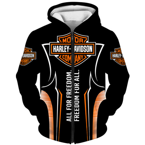 **(OFFICIAL-HARLEY-DAVIDSON-MOTORCYCLE-ZIPPERED-HOODIES/CUSTOM-DETAILED-3D-GRAPHIC-PRINTED-FREEDOM-FOR-ALL/FEATURING-OFFICIAL-CUSTOM-HARLEY-3D-LOGOS & OFFICIAL-CLASSIC-HARLEY-BLACK & ORANGE-COLORS/WARM-PREMIUM-HARLEY-RIDING-ZIPPERED-HOODIES)**