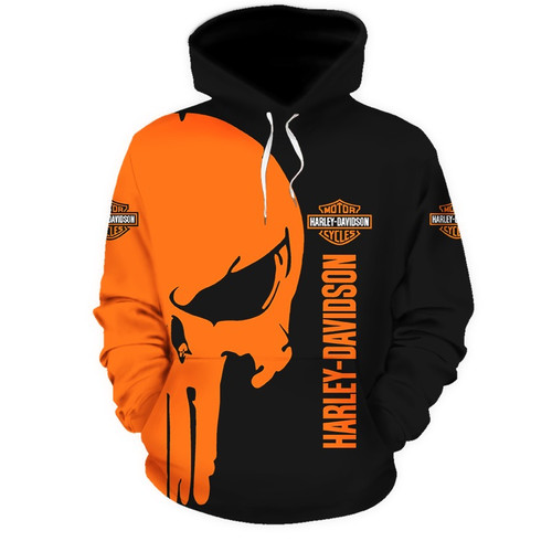 **(OFFICIAL-HARLEY-DAVIDSON-MOTORCYCLE-PULLOVER-HOODIE/CUSTOM-DETAILED-3D-GRAPHIC-PRINTED-PUNISHER-SKULL-DESIGN/FEATURING-OFFICIAL-CUSTOM-HARLEY-3D-LOGOS & OFFICIAL-CLASSIC-HARLEY-BLACK & ORANGE-COLORS/WARM-PREMIUM-HARLEY-RIDING-PULLOVER-HOODIES)**