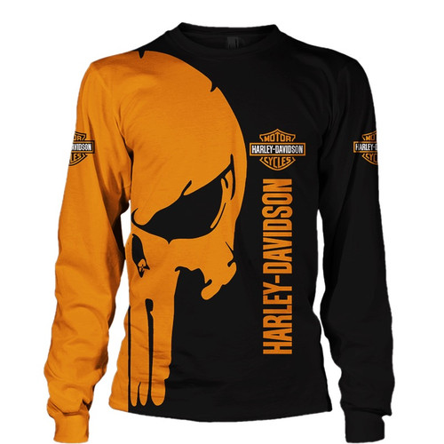 **(OFFICIAL-HARLEY-DAVIDSON-MOTORCYCLE-LONG-SLEEVE-TEES & PUNISHER-SKULL/CUSTOM-3D-GRAPHIC-PRINTED-DOUBLE-SIDED-DESIGN/OFFICIAL-CUSTOM-HARLEY-3D-LOGOS & OFFICIAL-CLASSIC-HARLEY-BLACK & ORANGE-COLORS/WARM-PREMIUM-HARLEY-RIDING-LONG-SLEEVE-TEES)**