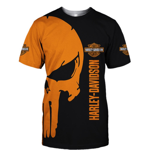 **(OFFICIAL-HARLEY-DAVIDSON-MOTORCYCLE-SHORT-SLEEVE-TEES & PUNISHER-SKULL/CUSTOM-3D-GRAPHIC-PRINTED-DOUBLE-SIDED-DESIGN/OFFICIAL-CUSTOM-HARLEY-3D-LOGOS & OFFICIAL-CLASSIC-HARLEY-BLACK & ORANGE-COLORS/WARM-PREMIUM-HARLEY-RIDING-SHORT-SLEEVE-TEES)**